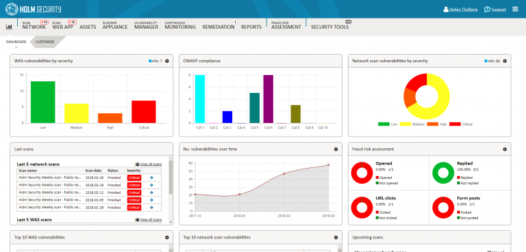 Holm Security dashboard