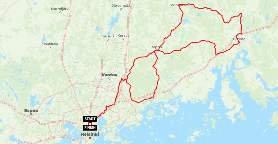 Helsinki Velotour route map