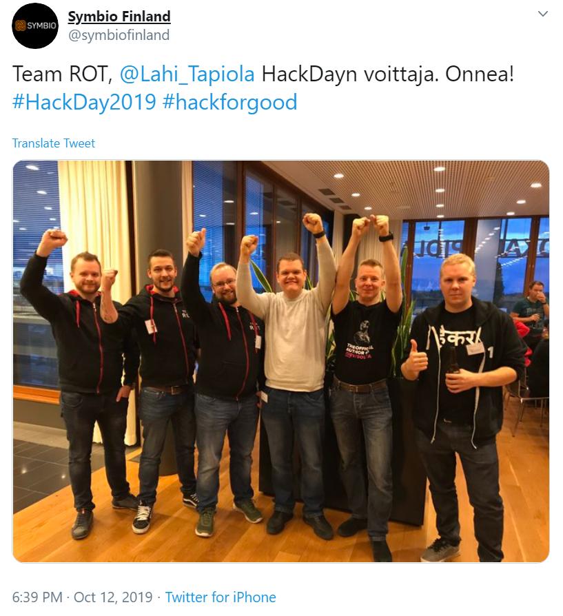 Hackday 2019 Tweet