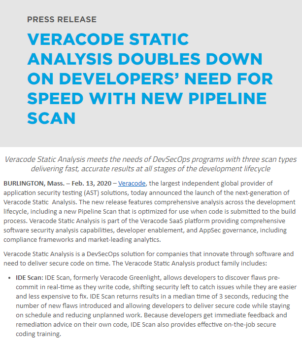 Veracode pipeline scan press release