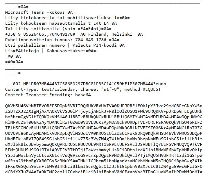 Microsoft Teams - Sähköpostin lähdekoodi