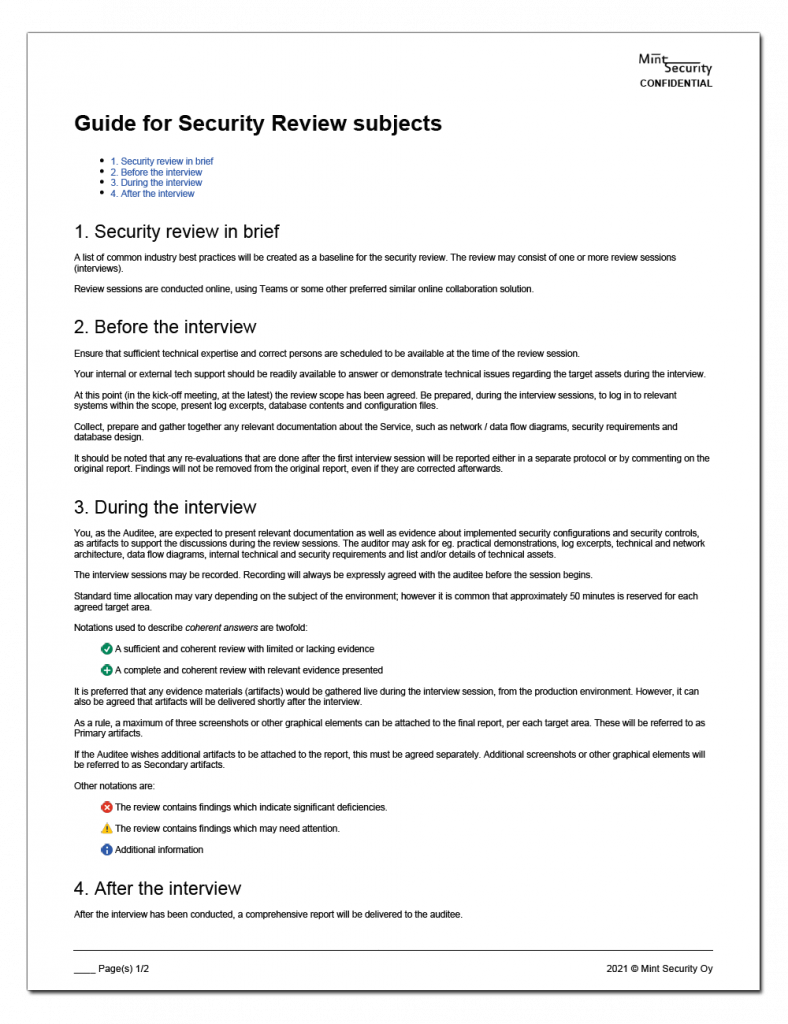 Security review subject instructions